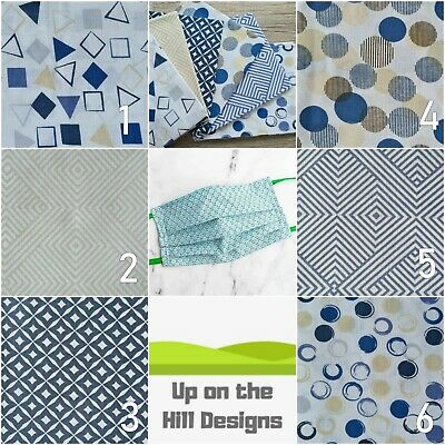 100% Cotton Dual Layer Washable Adult or Child Face Mask Blue Geometric Patterns