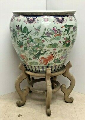 Nc144: Extra Large Oriental Fishbowl Planter With Stand