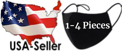 Lot 1-4 Pack Black Cotton Cloth Face Mask Reusable Three Layer *Fast USA Seller*