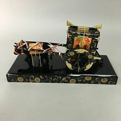 Japanese Hina Doll Lacquer Ox Carriage Stand Palanquin Miniature Girls Day ID235