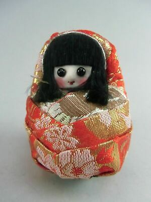 Japanese Kimono Girl Kokeshi Doll Tumble Ornament Red Smile Vtg Ningyo OK845