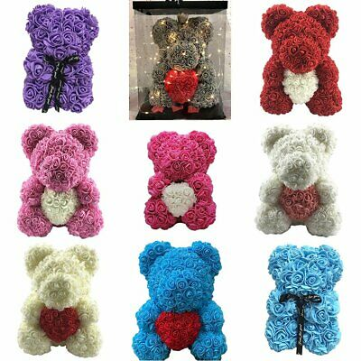 Valentines Day Gift Rose Teddy Bear Rose Flower Artificial Decoration Gift EA