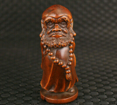 collection Chinese old boxwood hand carved Bodhidharma statue home decoration