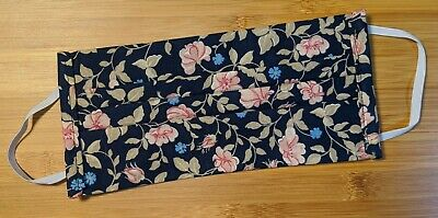 Navy Blue Flowers Handmade Reusable Washable Cotton Face Cover New