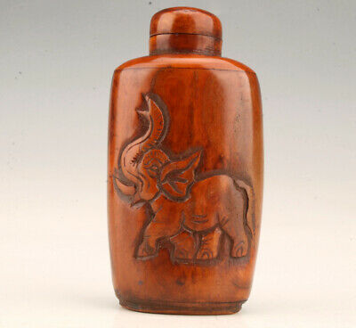 Cattle Bone Relief Elephant Statue Snuff Bottle Old Precious Collection