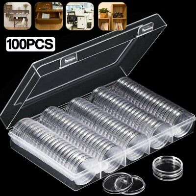 UK 30mm Coin Case Capsules Holder Clear Plastic Round Storage Collection Box NEW