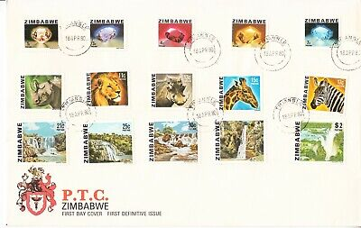 1980 Zimbabwe Independence Definitives Animals lion LOCAL First Day Cover