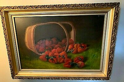 Antique Basket Of Strawberries Oil Painting On Millboard