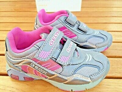 Geox  LEATHER Sneakers Grey and Pink  Girls NON - Tie  Little Girls Size 11