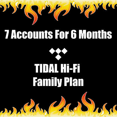 6 Month Tidal Hi-Fi Masters Quality Family Pass 7 Users | Instant Delivery