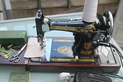 1935 Singer 28K Sewing Machine Superb Decals Fully Working Case & Key+electric m