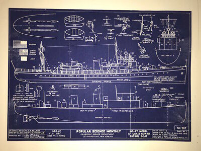 Ships Plans 1936 US Coast Guard Cutter two pages 16x22  (059)