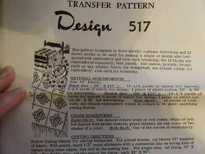 Vintage EMBROIDERY Transfer Pattern FLOWER Quilt Transfers UNUSED