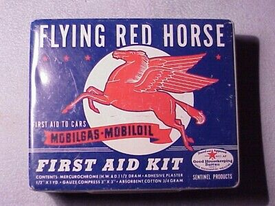 FLYING RED HORSE~MOBILGAS~MOBILOIL~First Aid Tin