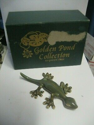 Original Green Tree-Golden Pond Collection Ceramic Gecko Lizard Figurine/W-Box