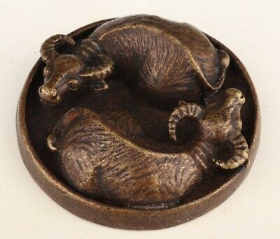 Chinese Bronze Seal Cattle Solid Mascot Collect Gift Old Decoration