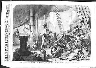 Original Old Antique Print 1855 French School Art Pirates Ship Deck Victorian