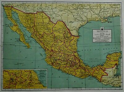 Nice Vintage 1942 Atlas Map World War WWII Mexico, Canada & Newfoundland L@@K!