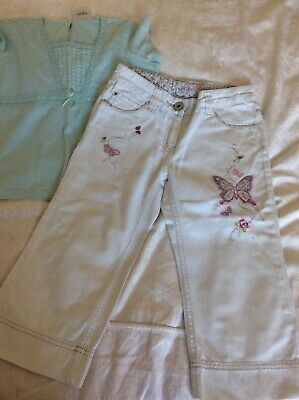 Gorgeous Crops - Next - White Denim & Embroidered Butterflies + Top 8/9 Years
