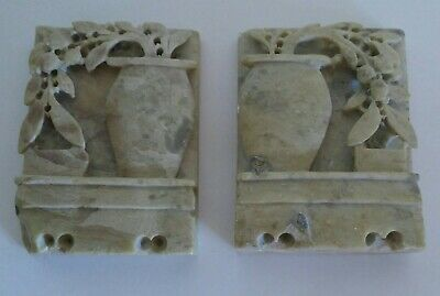 Vintage Chinese Hand Carved Soapstone Bookends Floral Motif Asian Oriental Decor