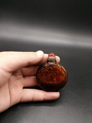 unusual collectable old antique Colored glasss prinkling gold snuff bottle