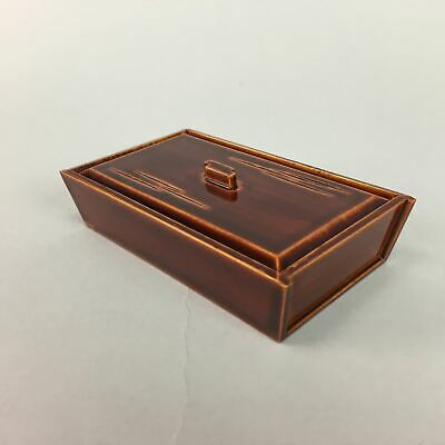 Japanese Lacquer ware Lidded Toothpick Case Vtg Wooden Shunkei Nuri Red LW887
