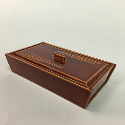 Japanese Lacquer ware Lidded Toothpick Case Vtg Wooden Shunkei Nuri Red LW885