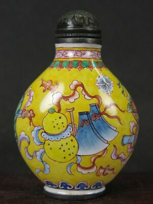 Chinese Eight Immortals Hand Painted Copper Enamel Snuff Bottle