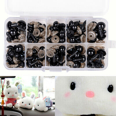 100x Black Plastic Safety Eyes for Teddy Plush Doll Puppet DIY Crafts 6-12mm Set