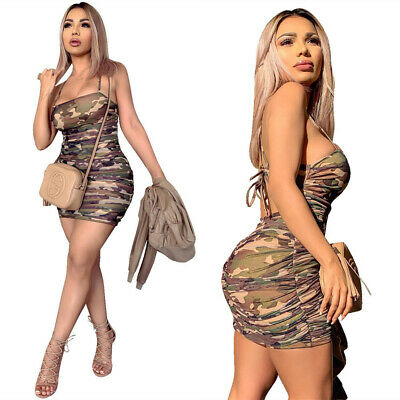 Hot Sale Sexy Women's Skinny Camouflage Print Lowcut Spaghetti Strap Club Dress