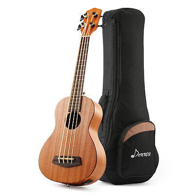 """Donner DUB-1 30"""" Ukulele Electric Bass Mahogany Body with Case Best Quality"""