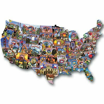 TDC Puzzles USA Road Trip America Shaped 1000 Piece Jigsaw Puzzle-Made in USA