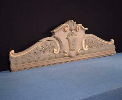 """*45"""" French Antique Pediment/Crest/Crown Painted Solid Wood Salvage"""