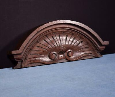 """*18"""" French Antique Pediment/Crest in Oak Wood Salvage Carved"""