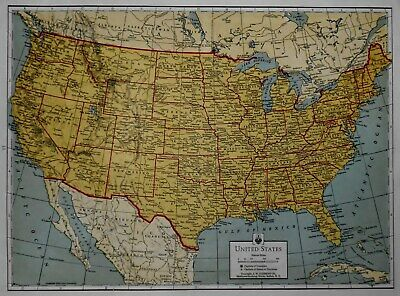 Great Vintage 1942 Atlas Map World War WWII The United States and Alaska L@@K!