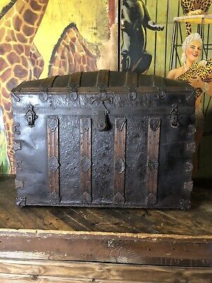 Vintage Humpback Steamer Trunk Funeral Home Sign Home Decor Victorian Style