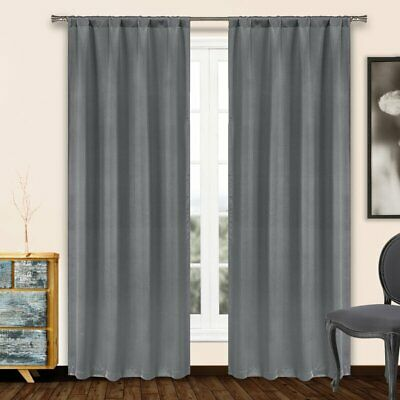 (4 PACK) Solid Color Blackout Thermal Rod Pocket Curtain Panels
