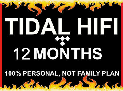 12 Month Tidal Hi-Fi | Masters Quality | Instant Delivery