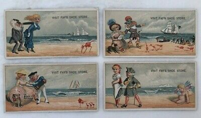4 1880s FAYS SHOE STORE Ocean BEACH Advertising VICTORIAN Trade Card ANTIQUE