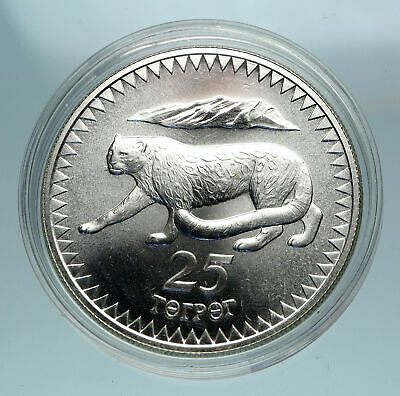 1987 MONGOLIA Endangered WWF Snow Leopard Genuine Silver 25 Togrog Coin i84095