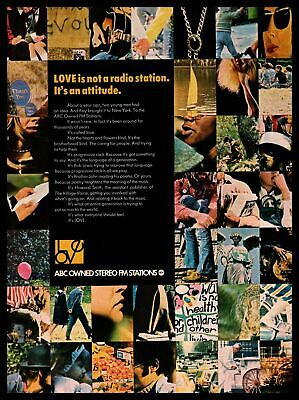 """1970 ABC Owned Stereo FM Stations """"Love Is Not A Radio Station"""" Vintage Print Ad"""