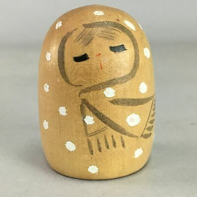 Japanese Kokeshi Doll Vtg Wooden Figurine Baby Child Snow Coat Brown KF253