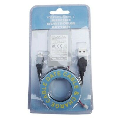 Wireless Bluetooth Controller Gamepad Battery Replacement with Cable for PS3