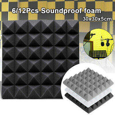 6/12pcs Acoustic Panels Sponge Sound Foam Pyramid Absorbing Sound proofing Foam
