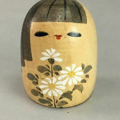 Japanese Kokeshi Doll Vtg Wooden Figurine Girl Flower Brown KF256