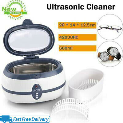 600ml Digital Ultrasonic Cleaner Wave Jewelry Watch Coins CD Cleaning Tank Timer