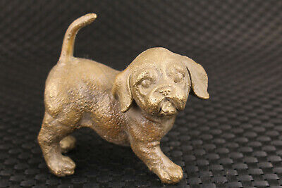 Rare Chinese old bronze hand cast dog statue figure collectable ornament
