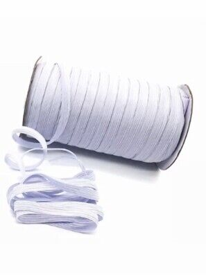 6 mm Elastic 5 Meters Flat Corded Braided White For Sewing Making Face Masks,
