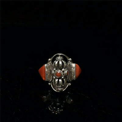 """0.87"""" Chinese Exquisite Tibetan Silver inlay Red Coral Handmade Ring op124"""