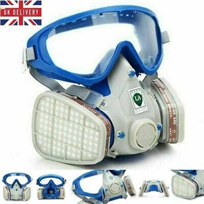 UK Stock Gas Cover Paint Chemical Mask Full Face Respirator Gas Mask And Goggles